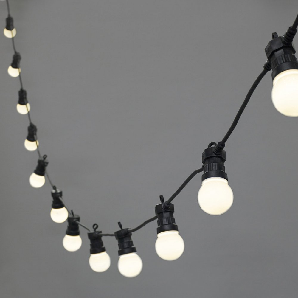 Festoons 20x LED Cool White Globe Bulbs, Black Cable (1m apart)