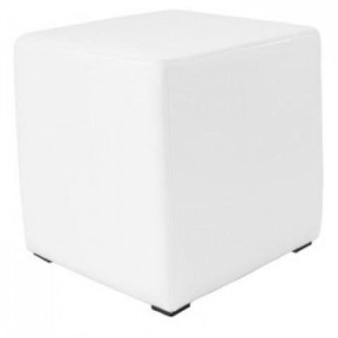 50cm White Leatherette Cube Seating