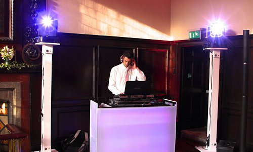 DJ with lighting plinths