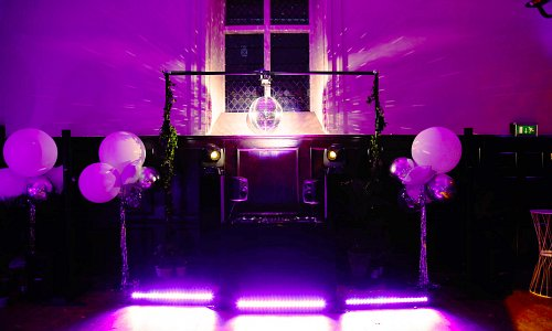 Dance floor and lighting for a wedding